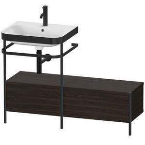 Furniture Washbasin C-bonded With Metal Console Floorstanding, Brushed Walnut (real Wood Veneer)