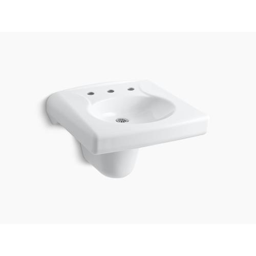 White Wall-mounted or Concealed Carrier Arm Mounted Commercial Bathroom Sink With Widespread Faucet Holes and Shroud