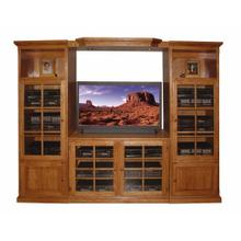 See Details - Forest Designs Traditional Golden Oak Three Piece Wall & TV Stand & Adjustable Shelf