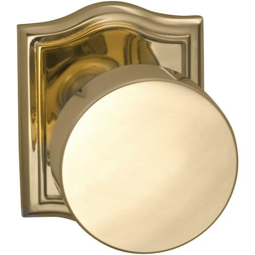 Interior Modern Knob Latchset with Arched Rose in (US3 Polished Brass, Lacquered)