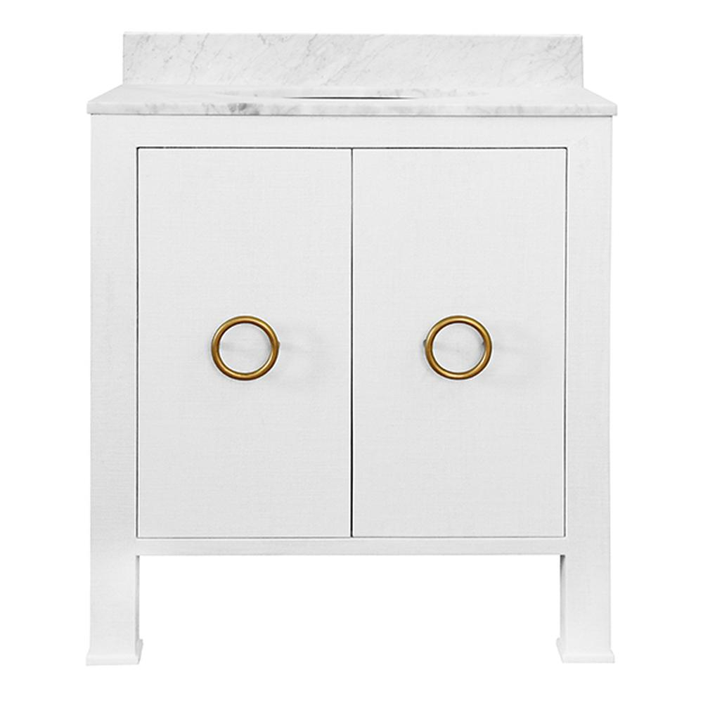 See Details - You'll Want To Design Your Bath or Powder Room Around the High Style Material Palette of Our Blanche Bath Vanity. Dressed In Textured White Linen and Antique Brass Ring Pulls. Blanche Is an Artful Combination of Color and Texture. Includes Luminous White Carrara Marble Top & Backsplash Plus A White Porcelain Sink.