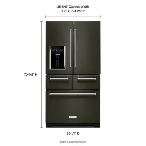 "KitchenAid Canada - 25.8 Cu. Ft. 36"" Multi-Door Freestanding Refrigerator with Platinum Interior Design - Black Stainless Steel with PrintShield™ Finish"