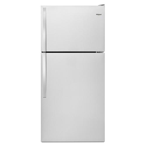 "Whirlpool - 30"" Wide Top-Freezer Refrigerator Monochromatic Stainless Steel"