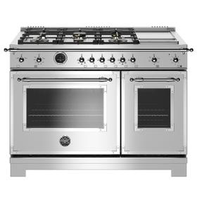 """48"""" Hertitage Series range - Electric self clean oven - 6 brass burners + griddle"""