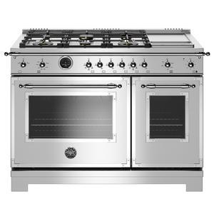 "Bertazzoni48"" Hertitage Series range - Electric self clean oven - 6 brass burners + griddle"
