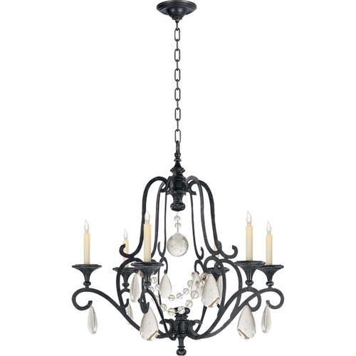 Visual Comfort - E. F. Chapman Piedmont 6 Light 32 inch Aged Iron Chandelier Ceiling Light