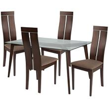 5 Piece Espresso Wood Dining Table Set with Glass Top and Clean Line Wood Dining Chairs - Padded Seats