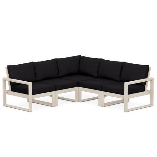Polywood Furnishings - EDGE 5-Piece Modular Deep Seating Set in Sand / Midnight Linen