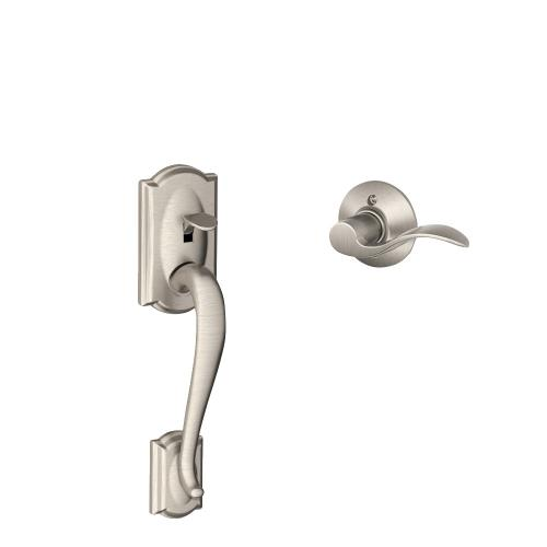 Camelot Front Entry Handle and Accent Lever - Satin Nickel
