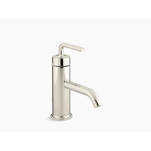 Vibrant Polished Nickel Single-handle Bathroom Sink Faucet With Straight Lever Handle