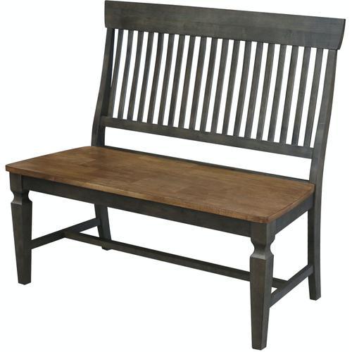 John Thomas Furniture - Slatback Bench in Hickory & Coal