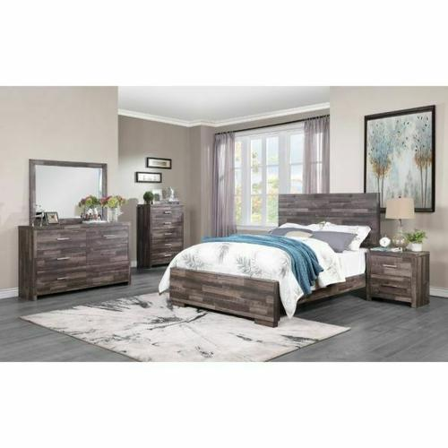 ACME Juniper Queen Bed - 22160Q - Transitional, Rustic - Wood (Solid Pine), Veneer (Melamine), MDF - Dark Cherry