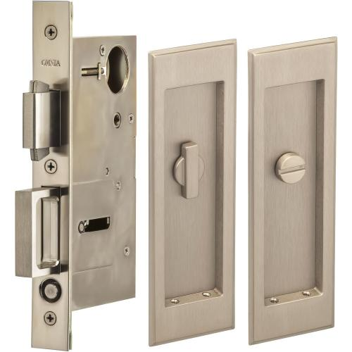 Pocket Door Lock with Traditional Rectangular Trim featuring Turnpiece and Emergency Release in (US15 Satin Nickel Plated, Lacquered)