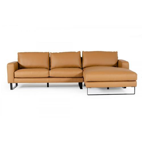 VIG Furniture - Accenti Italia Shine - Italian Modern Cognac Right Facing Sectional Sofa