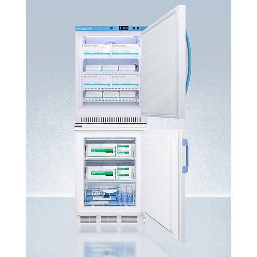 Stacked Combination of Ars6pv All-refrigerator With Antimicrobial Silver-ion Handle and Vt65mlbimed2 Manual Defrost All-freezer for Vaccine Storage