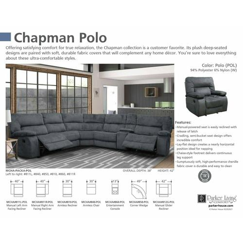 Parker House - CHAPMAN - POLO Manual Armless Recliner