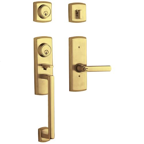 Baldwin - Non-Lacquered Brass Soho Two-Point Lock Handleset