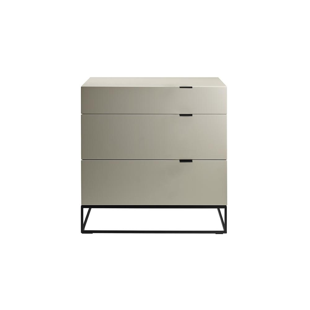 The Vizzione Dresser In High Gloss Taupe Lacquer With Black Base