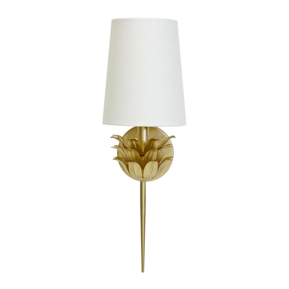 Add A Cozy Interplay of Light and Shadow To Any Room With This Elegant, One-arm Sconce Featuring A Graceful, Three-layer Botanical Motif. Finished With Hand-applied Gold Leaf and Topped With A White Linen Shade, Delilah Evokes an Inviting, Radiant Sophistication, Especially When Paired To Accentuate A Mirror or Secretary.