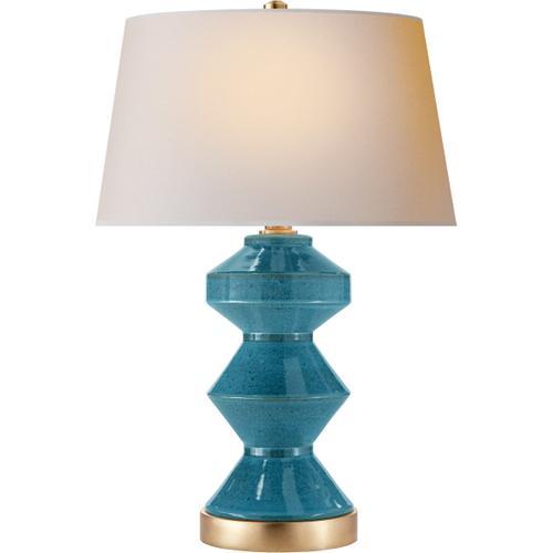Visual Comfort - E. F. Chapman Weller Zig-zag 27 inch 150.00 watt Oslo Blue Table Lamp Portable Light, E.F. Chapman, Zig-Zag, Natural Paper Shade