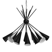 Twelve Matte Black Flutes With Contrasting White Interiors Cluster Brilliantly In This Stunning Chandelier - A Perfect Centerpiece for Your Dining Room or Living Area. Finished In Black Powder Coat With 6' of Coordinating Chain and Canopy for Your Custom Installation.