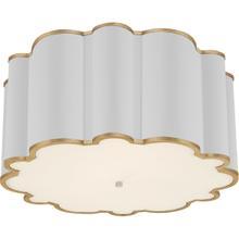 View Product - Alexa Hampton Markos 4 Light 26 inch White with Gild Flush Mount Ceiling Light, Grande