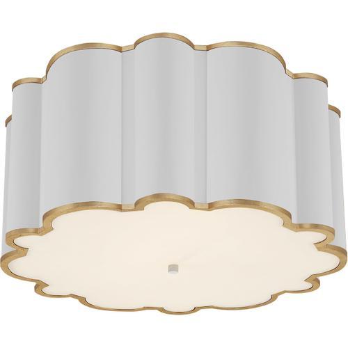 Alexa Hampton Markos 4 Light 26 inch White with Gild Flush Mount Ceiling Light, Grande