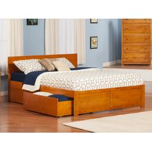 Orlando Queen Flat Panel Foot Board with 2 Urban Drawers Carmel Latte