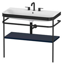 Furniture Washbasin C-bonded With Metal Console Floorstanding, Night Blue Satin Matte (lacquer)