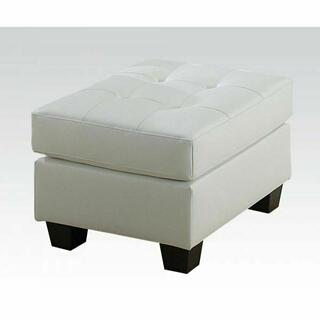ACME Platinum Ottoman - 15098B - White Bonded Leather