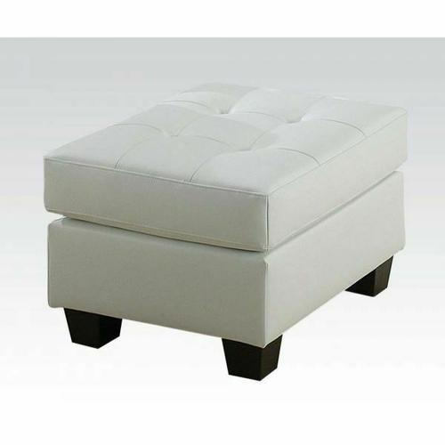 ACME Platinum Ottoman - 15098B - White Bonded Leather