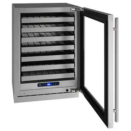 """U-Line - Hwc524 24"""" Wine Refrigerator With Stainless Frame Finish and Field Reversible Door Swing (115 V/60 Hz Volts /60 Hz Hz)"""
