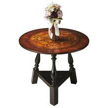 This stunning tabletop features swirling inlays in a field of burl veneer framed by a wide, cross-grain border of cherry and walnut veneers. The base also impresses with its sloping turned legs and triangular stretcher in the Black and Tan finish. Crafted from poplar wood solids and veneers.