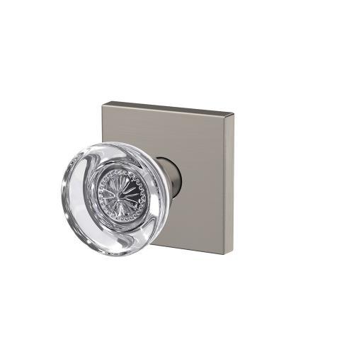 Custom Hobson Non-Turning Glass Knob with Collins Trim - Satin Nickel