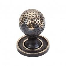 Paris Knob Mottled 1 1/4 Inch w/Backplate - Dark Antique Brass