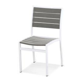 Polywood Furnishings - Eurou2122 Dining Side Chair in Satin White / Slate Grey