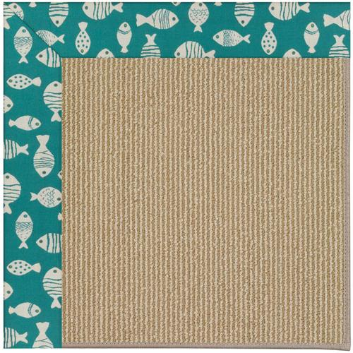 Creative Concepts-Sisal Go Fish Turquoise Machine Tufted Rugs