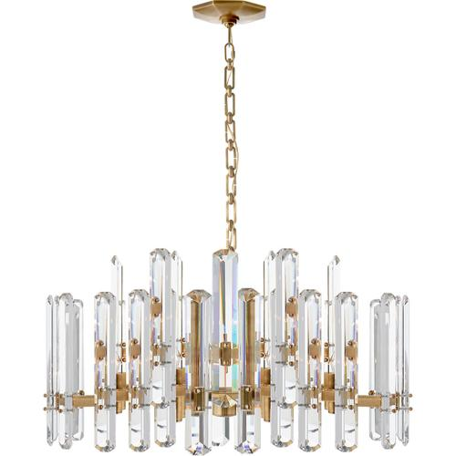 AERIN Bonnington 18 Light 32 inch Hand-Rubbed Antique Brass Chandelier Ceiling Light, Large
