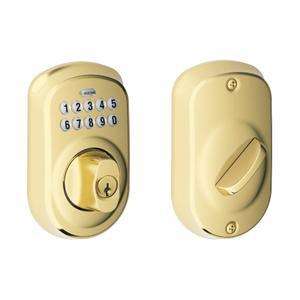 Plymouth Trim Keypad Deadbolt - Bright Brass Product Image
