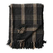 """Product Image - 60""""L x 50""""W Woven Cotton Blend Throw with Fringe, Black & Tan Plaid"""