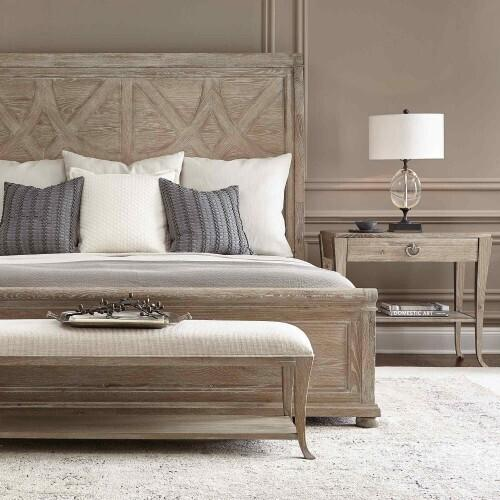 Bernhardt - King-Sized Rustic Patina Panel Bed in Sand (387)