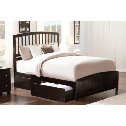 Richmond Queen Bed with Matching Foot Board with 2 Urban Bed Drawers in Espresso