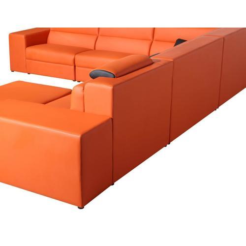 VIG Furniture - Divani Casa Polaris - Contemporary Orange Bonded Leather U Shaped Sectional Sofa with Lights