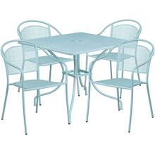 35.5'' Square Sky Blue Indoor-Outdoor Steel Patio Table Set with 4 Round Back Chairs