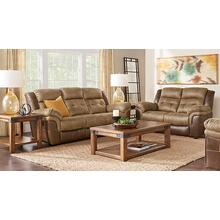 Sheffield Two-Tone Brown Leather Gel Sofa and Loveseat Set