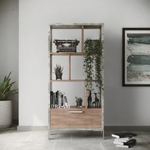 See Details - Nova Domus Boston Modern Brown Oak & Faux Concrete Bookcase