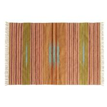 Product Image - 4' x 6' Hand-Woven Wool Blend Striped Kilim Rug w/ Fringe, Multi Color