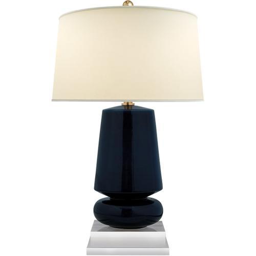Visual Comfort - E. F. Chapman Parisienne 29 inch 150.00 watt Denim Porcelain Table Lamp Portable Light, E.F. Chapman, Small, Natural Percale Shade