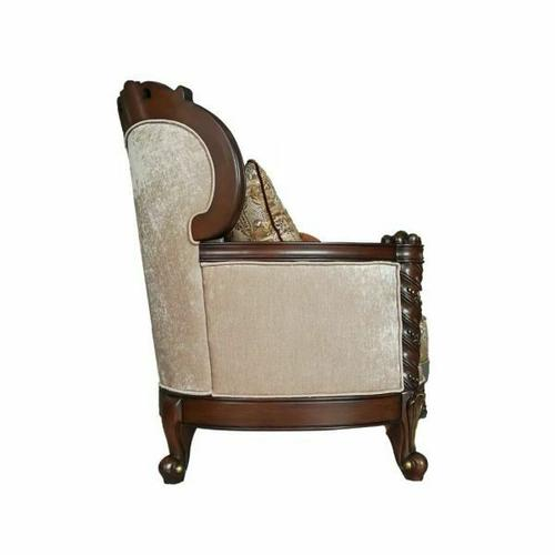 ACME Devayne Loveseat w/4 Pillows - 50686 - Fabric & Dark Walnut