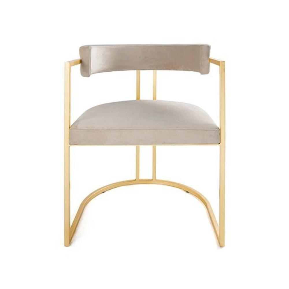 Barrel Back Chair Gold Leaf Base In Cream Velvet